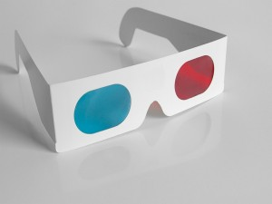 Postal: Antiguas gafas para 3D