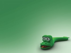 Postal: Serpiente verde de trapo