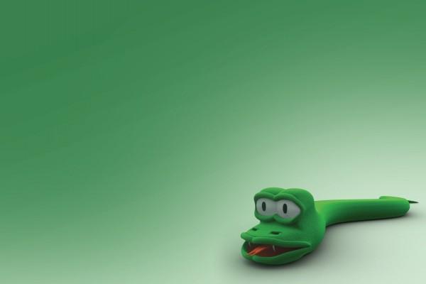 Serpiente verde de trapo