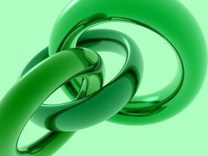 Postal: Anillos verdes enlazados