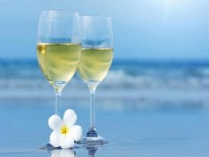 Dos copas de vino blanco en el mar