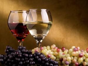 Dos tipos de vino y uvas