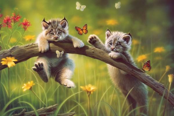 Gatos jugando con mariposas