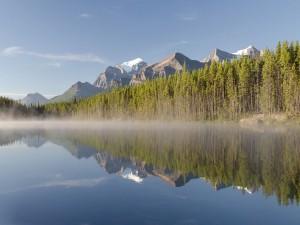 Postal: Lago Herbert visto desde la carretera Icefields Parkway, en Alberta, Canadá