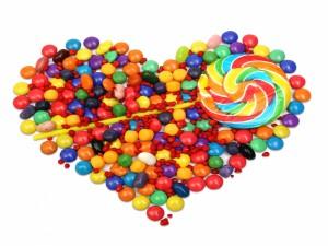 Postal: Corazón de caramelos