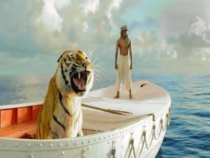 Postal: Pi y el tigre Richard Parker (La vida de Pi)