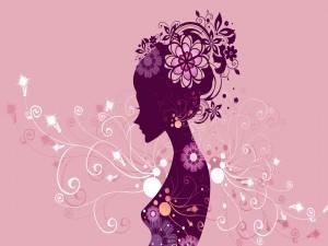 Silueta de mujer floreada