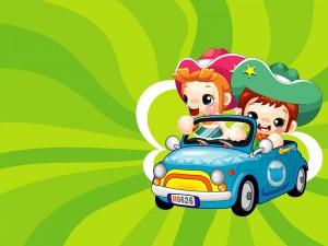 Niños en un coche