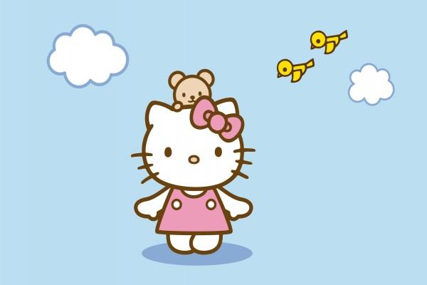 Hello Kitty y dos pajaritos amarillos