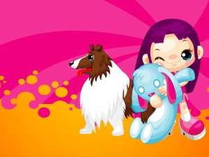 Niña con su perro abrazando un peluche