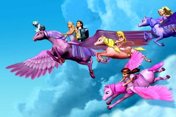 Personajes de Barbie en caballos alados