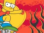 Bart Simpson en su monopatín