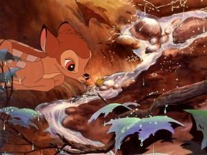 Postal: Bambi a la orilla de un riachuelo