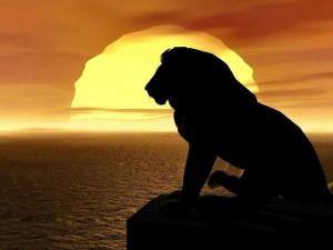 """Postal: Silueta de """"El rey león"""""""