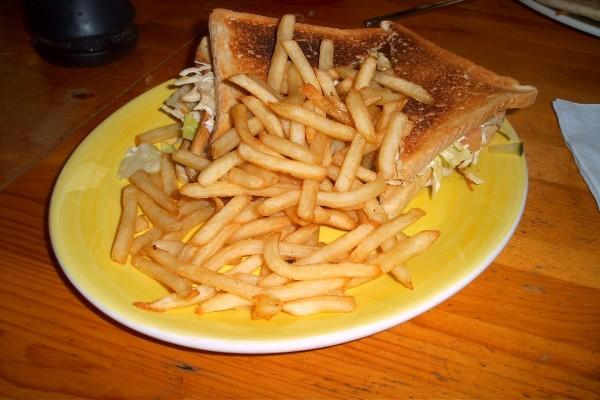 Un sándwich con papas fritas