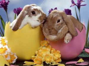 Postal: Conejitos de Pascua