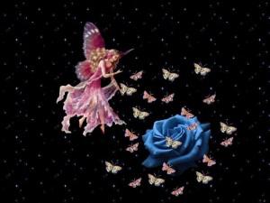 Postal: Hada de las mariposas