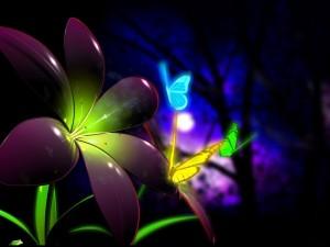Postal: Mariposas fluorescentes