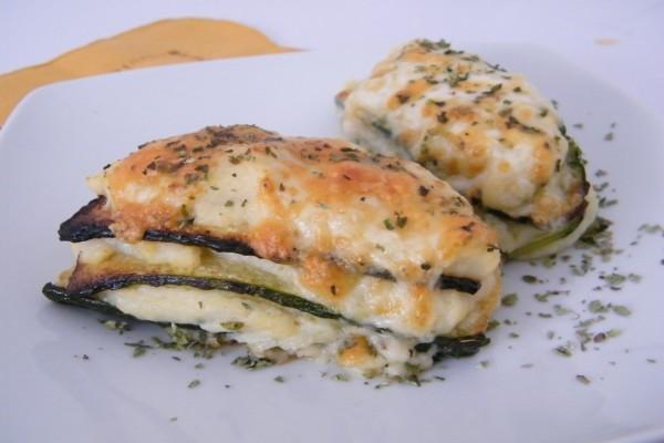 Milhojas de calabacín con mucho queso