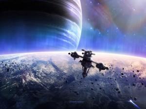 Postal: Nave espacial orbitando un planeta