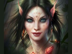 Mujer-Elfo de ojos felinos