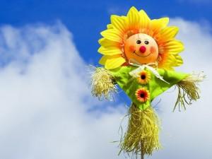 Espantapájaros con forma de flor