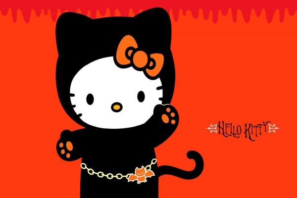 Hello Kitty con un disfraz de Halloween
