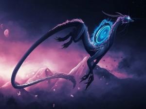 Dragón mágico bajo un cielo morado
