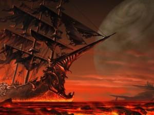 Postal: Barco vikingo fantasma