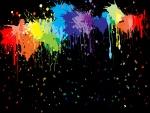 Manchas de pintura y pequeñas mariposas de colores