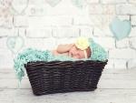 Bebé durmiendo en un canasto