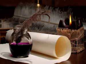 Tinta, pergamino y una vela