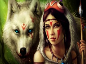 Guerrera junto a un lobo