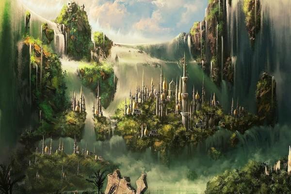 Ciudad junto a la cascada