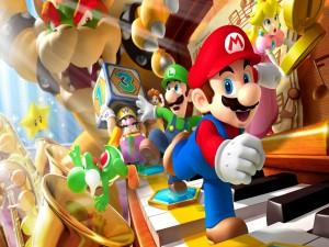 Personajes de Mario Bros. sobre un piano