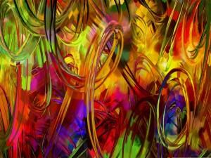 Postal: Rizos de pintura de colores