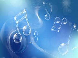 Postal: Notas musicales transparentes