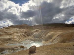 Postal: Aguas termales en Leirhnjúkur, Islandia