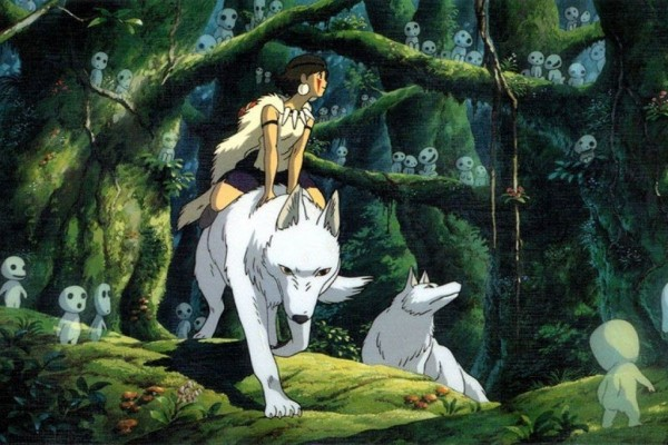 La princesa Mononoke montada sobre un gran lobo blanco