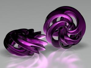 Postal: Objetos semiesféricos de color púrpura
