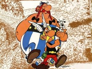 Postal: Astérix y Obélix con su perrito Idéfix
