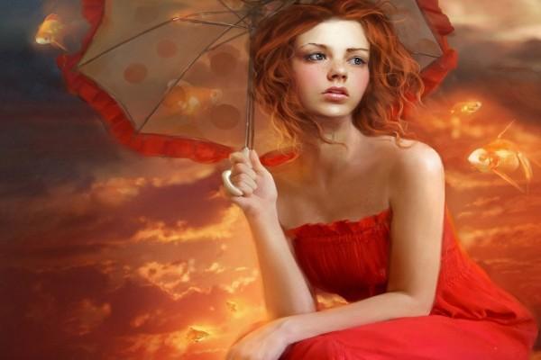 Mujer en un mundo rojo