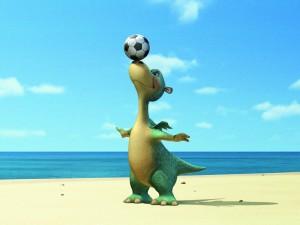 Postal: Impy el dinosaurio con un balón de fútbol