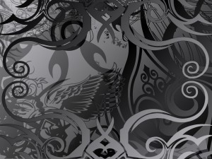 Postal: Dibujos grises abstractos