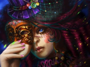 Postal: Mujer en carnaval