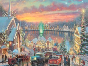 """Lights of Christmastown"" de Thomas Kinkade"