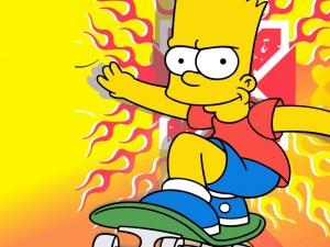 Postal: Bart Simpson sobre su monopatín
