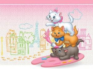 Postal: Tres gatitos pintores