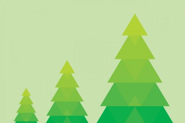 Tres pinos formados por triángulos verdes
