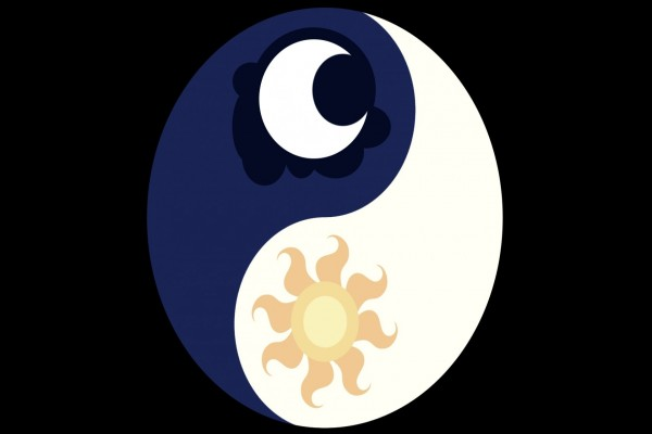 """El Taijitu, símbolo que representa el """"yin y yang"""", con un sol y una luna dentro"""